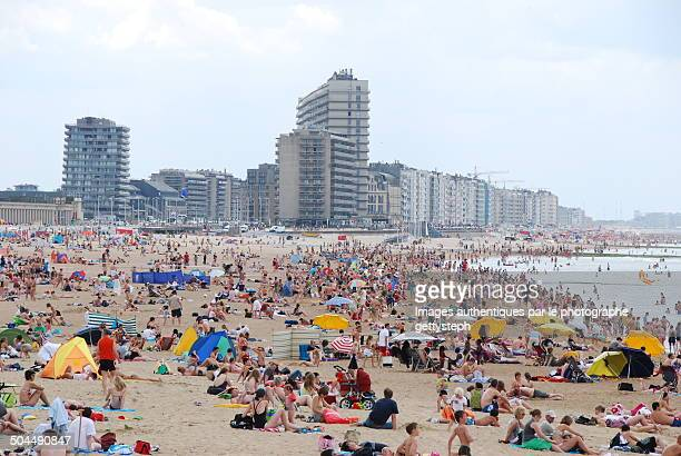 people on the great beach of ostend - オステンド ストックフォトと画像