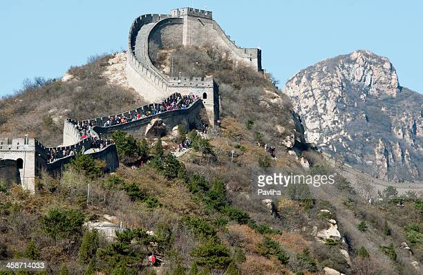 people on the great wall of china in badaling - pavliha stock photos and pictures