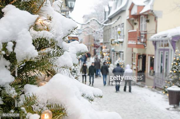 People on the Petit Champlain street in Quebec city