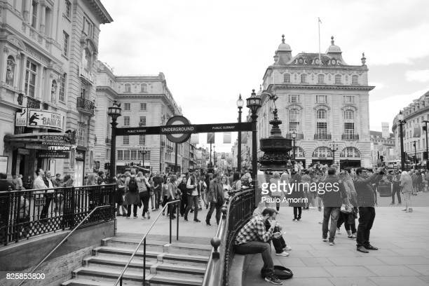 People on the Piccadilly Circus in London