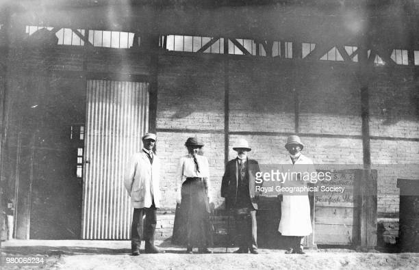 People on the platform at a Baghdad railway station The woman in this photograph may be Gertrude Bell Iraq 1913