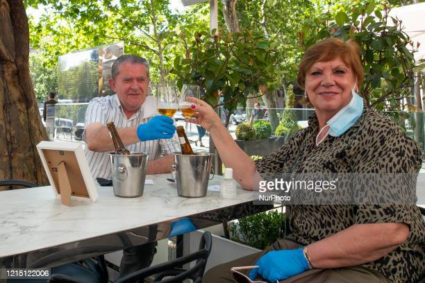 people on the Puerta de Alcala terrace in the Retiro Park after 72 days closed due to the coronavirus crisis on May 25 2020 in Madrid Spain Some...