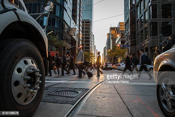 People on the street crossing in Toronto, Canada