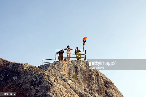 people on top of mihintale rock. - mihintale stock pictures, royalty-free photos & images