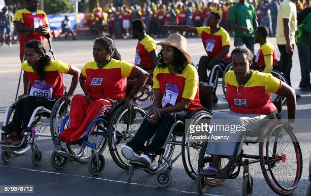 People on wheelchairs prepare to compete in the Great Ethiopian Run at Adwa Square in Addis Ababa Ethiopia on November 26 2017 Total of 44000...