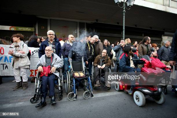 People on wheelchairs take part in a 24hours strike in Athens Greece on January 12 2018 by Greek Unions against changes to labour law and new...
