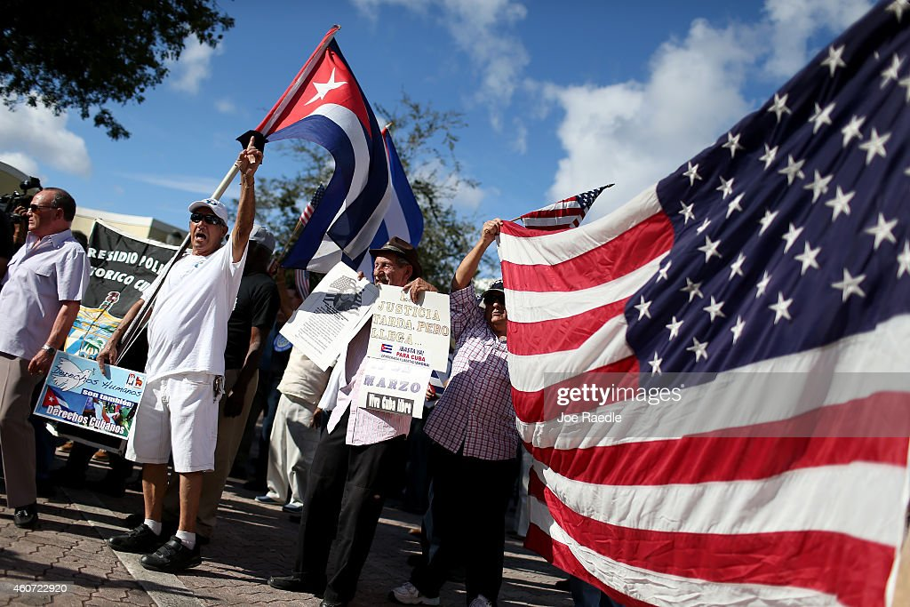 Protesters Opposed To Obama's Shift In Cuba Policy Demonstrate In Miami : News Photo