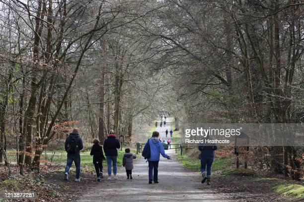 People out walking in Burnham Beeches on March 21, 2020 in Burnham, United Kingdom. The National Trust, a charitable organisation that manages...
