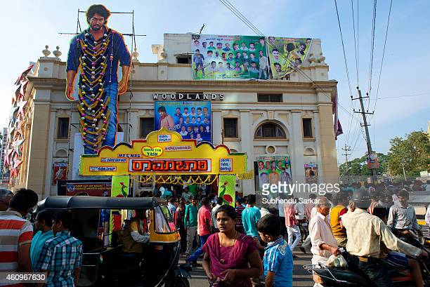 People outside a cinema hall in Mysore