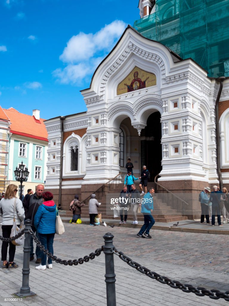 People outside Alexander Nevsky Cathedral in Tallinn : Stock Photo