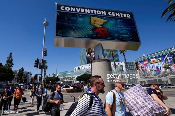 People outside of the Los Angeles Convention Center during the first day of the Electronic Entertainment Expo E3 in Los Angeles California on June...