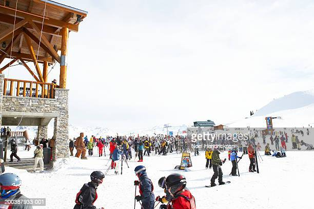 people outside ski lodge - whistler british columbia stock pictures, royalty-free photos & images