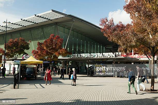 people outside stratford station - stratford london stock pictures, royalty-free photos & images