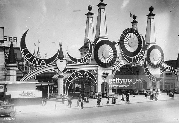 People outside the entrance to Luna Park on Coney Island New York
