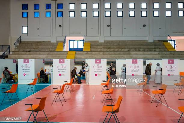 People over 70 in the vaccination boxes, on the first day of opening of the Palachicoli in Terlizzi on 23 April 2021. The PalaChicoli Population...