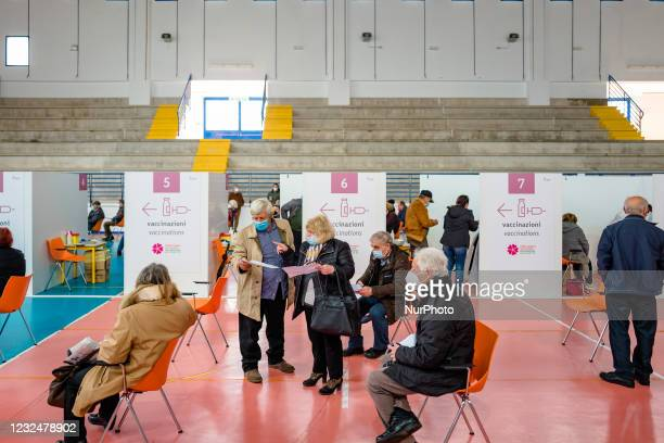 People over 70 who have just been vaccinated await at the center of the Palazzetto, on the first day of opening of the Palachicoli in Terlizzi on 23...
