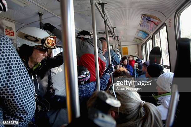 People pack onto a bus that takes people from Thredbo Village to Friday flat on July 7 2009 in Thredbo Australia The snow busues help transport the...