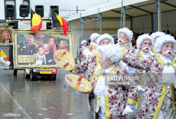 People parade during the 92nd edition of the Aalst Carnival parade on February 23 2020 in the streets of Aalst Belgium The Aalst Carnival is a...