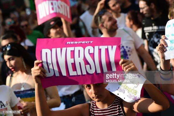 People parade during the Milan Pride 2019 on June 29, 2019 in Milan, as part of the LGBT Pride month marking the 50th anniversary of the New York...