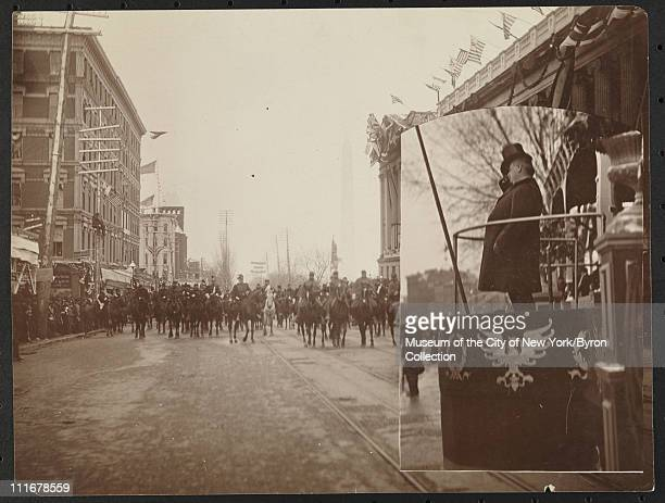 People parading in front of the US Capitol at the inauguration of President Grover Cleveland Washington DC March 4 1893