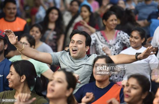 People participate during Raahgiri day at Palam Vihar an event organized by MCG on April 8 2018 in Gurugram India Various activities seen such as...