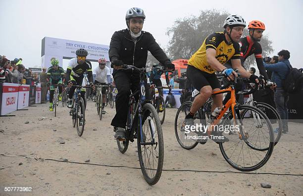 People participate in 32 km long try cycle- Cyclothon organized by Cycling Federation of India to promote the use of bicycles for short distance...