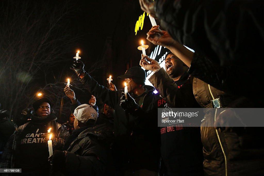 Rev. Al Sharpton Leads Vigils Around New York To Sites Of Recent Police Involved Deaths : News Photo