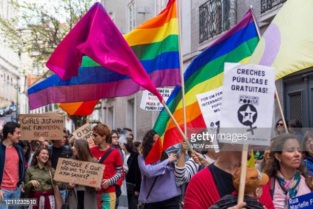People participate in a demonstration on International Women´s Day on March 8, 2020 in Lisbon, Portugal. Rede 8 de Marco, a platform that brings...