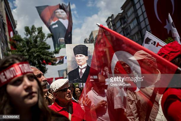 People participate in a march to celebrate the life of modern Turkey's founder Mustafa Kemal Ataturk during festivities on Ataturk Youth and Sports...