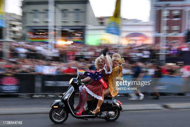TOPSHOT People participate in a motorcycle rally during the annual Gay and Lesbian Mardi Gras parade in Sydney on March 2 2019 Thousands of revellers...