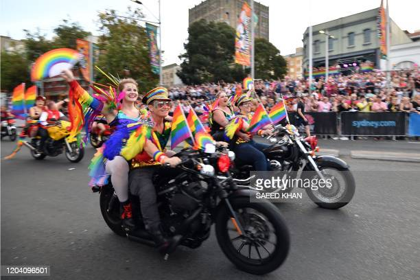 People participate in a motorcycle rally during the annual Gay and Lesbian Mardi Gras parade in Sydney on February 29 2020 Thousands of revellers...