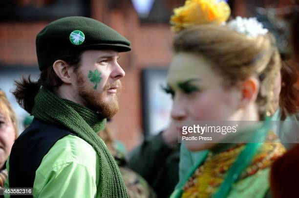 People participate in a parade during St Patrick's Day in Moscow As the people commemorate the death of Moscow's Patron they dressed and body painted...