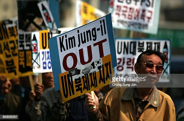 People participate in a protest against North Korea on April 8 2009 in Seoul South Korea Protests in South Korea have continued following the launch...