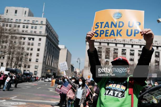 People participate in a protest to demand an end to anti-Asian violence on April 04, 2021 in New York City. The group, which numbered near 3000 and...
