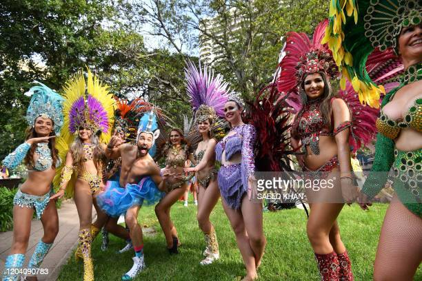 People participate in a rally during the annual Gay and Lesbian Mardi Gras parade in Sydney on February 29 2020 Thousands of revellers took part in...