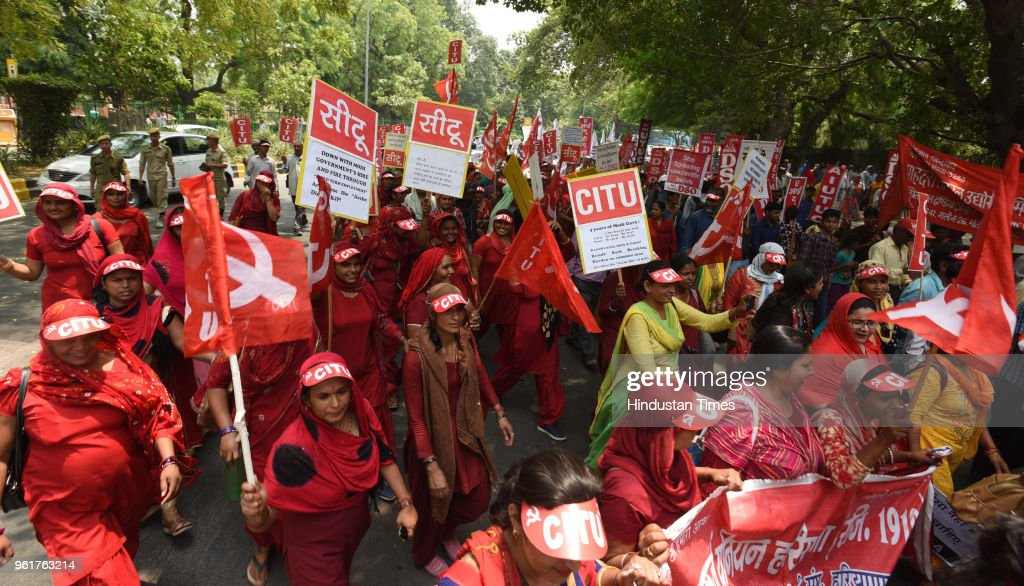 Left Parties And Trade Unions Protest Against NDA Government