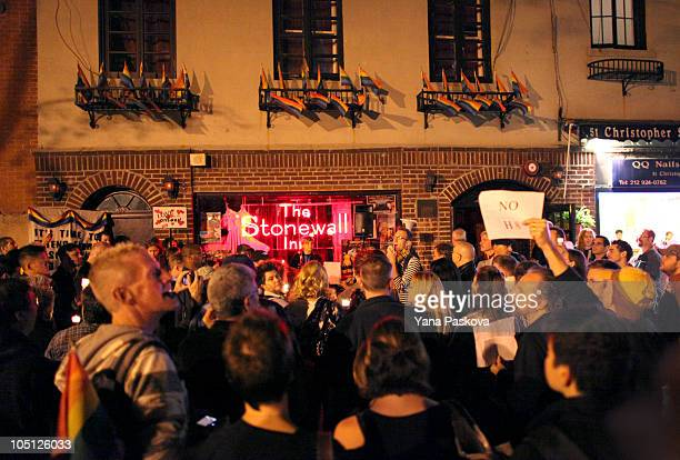 """People participate in Queer Rising's """"Take Back the Night"""" gay rights march in front of The Stonewall Inn October 9, 2010 in New York City. Queer..."""