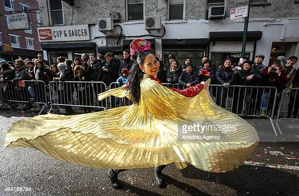 People participate in the annual Chinese Lunar New Year Parade in Manhattan's Chinatown New York on February 22 2015