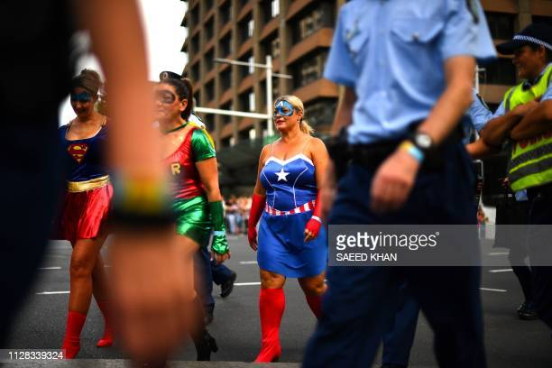 People participate in the annual Gay and Lesbian Mardi Gras parade in Sydney on March 2 2019 Thousands of revellers took part in the iconic festival...