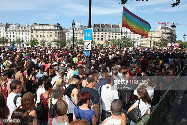 People participate in the annual Gay Pride Parade on June 27 2015 in Paris France The United States Supreme Court legalized gay marriage across the...