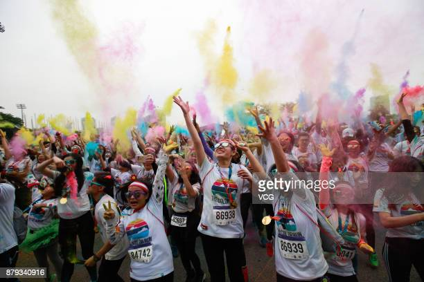 People participate in The Color Run on November 25 2017 in Shenzhen Guangdong Province of China