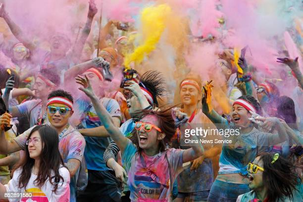 People participate in The Color Run on September 24 2017 in Shanghai China
