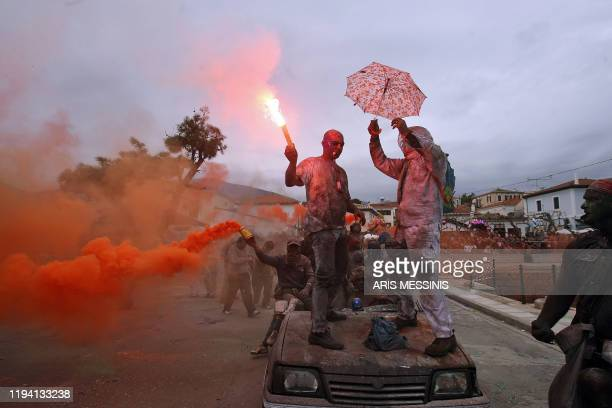 People participate in the colourful flourwar during the celebrations of the Clean Monday which marks the end of carnival and the start of the 40days...