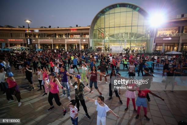 People participate in the Dubai Fitness Challenge at Dubai Festival City on November 18 2017 in Dubai United Arab Emirates
