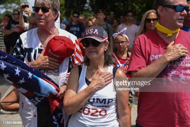 People participate in the Fourth of July festivities on July 4 2019 in Washington DC President Trump is holding a Salute to America celebration on...