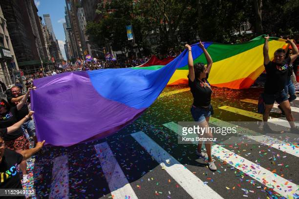 People participate in the NYC Pride March on June 30, 2019 in New York City. The march marks the 50th anniversary of the Stonewall riots in the...