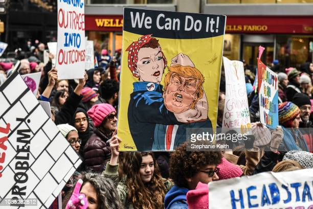 People participate in the Women's March on January 19 2019 in New York City This year marked the third year of the Women's March which still drew...