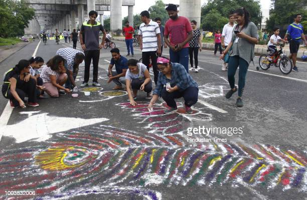 People participate on a Raahgiri Day an event organised by MCG at Sector 55 Golf Course Road on July 22 2018 in Gurugram India Participants were also...