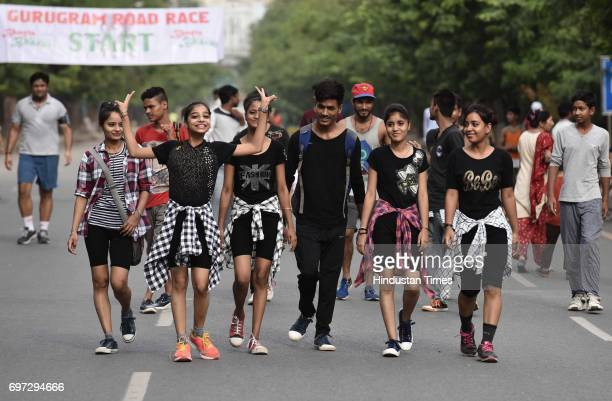 People participate on the Raahgiri Day at Sushant Lok near Galleria Market organized by MCG on June 18 2017 in Gurugram India The day is a joint...