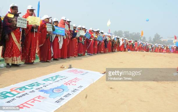 People participating at World's longest human chain to create awareness against dowry and child marriage on January 21 2018 in Patna India It is...